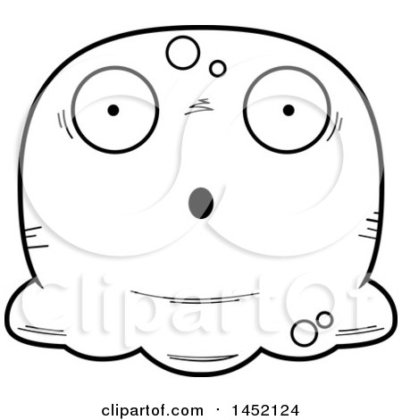 Clipart Graphic of a Cartoon Black and White Lineart Surprised Blob Character Mascot - Royalty Free Vector Illustration by Cory Thoman