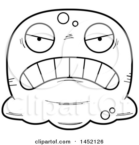 Clipart Graphic of a Cartoon Black and White Lineart Mad Blob Character Mascot - Royalty Free Vector Illustration by Cory Thoman