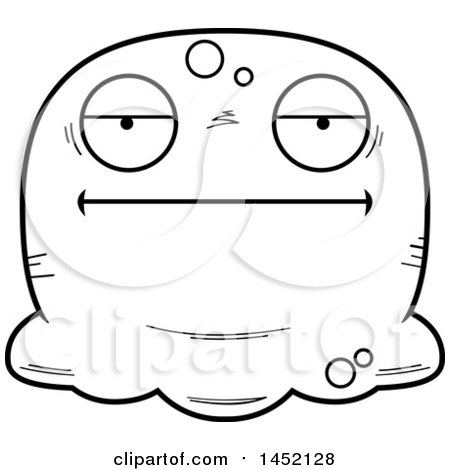 Clipart Graphic of a Cartoon Black and White Lineart Bored Blob Character Mascot - Royalty Free Vector Illustration by Cory Thoman