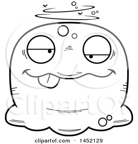 Clipart Graphic of a Cartoon Black and White Lineart Drunk Blob Character Mascot - Royalty Free Vector Illustration by Cory Thoman
