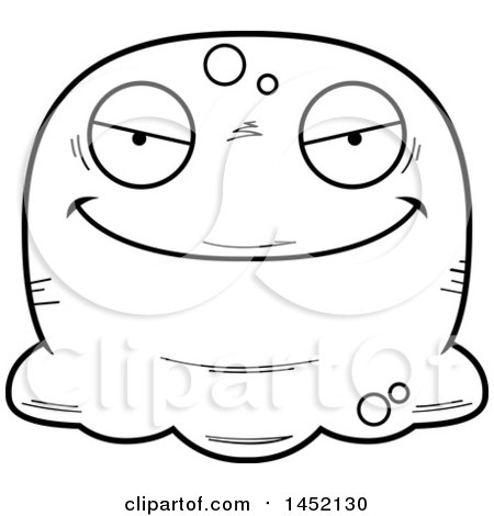 Clipart Graphic of a Cartoon Black and White Lineart Evil Blob Character Mascot - Royalty Free Vector Illustration by Cory Thoman