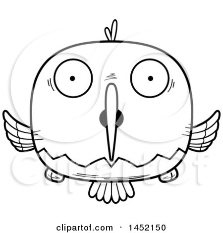 Clipart Graphic of a Cartoon Black and White Lineart Surprised Hummingbird Character Mascot - Royalty Free Vector Illustration by Cory Thoman
