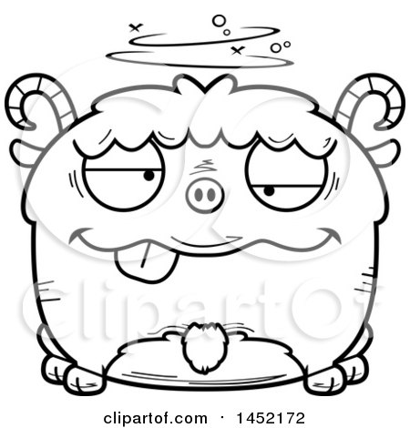 Clipart Graphic of a Cartoon Black and White Lineart Drunk Goat Character Mascot - Royalty Free Vector Illustration by Cory Thoman