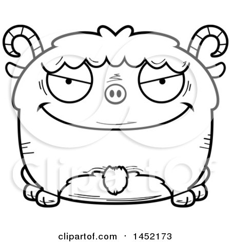 Clipart Graphic of a Cartoon Black and White Lineart Evil Goat Character Mascot - Royalty Free Vector Illustration by Cory Thoman