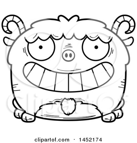 Clipart Graphic of a Cartoon Black and White Lineart Grinning Goat Character Mascot - Royalty Free Vector Illustration by Cory Thoman