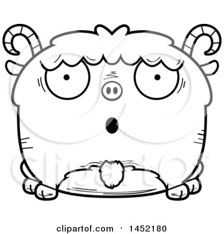 Clipart Graphic of a Cartoon Black and White Lineart Surprised Goat Character Mascot - Royalty Free Vector Illustration by Cory Thoman