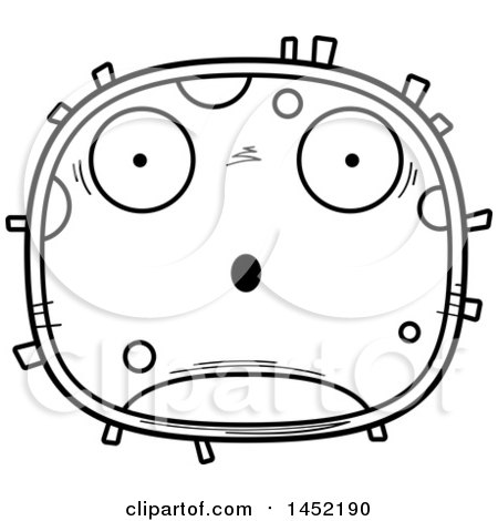 Clipart Graphic of a Cartoon Black and White Lineart Surprised Germ Character Mascot - Royalty Free Vector Illustration by Cory Thoman