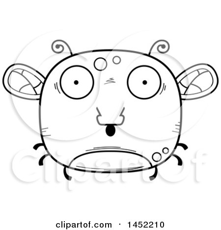 Clipart Graphic of a Cartoon Black and White Lineart Surprised Fly Character Mascot - Royalty Free Vector Illustration by Cory Thoman
