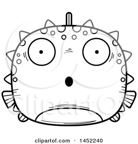 Clipart Graphic of a Cartoon Black and White Lineart Surprised Blowfish Character Mascot - Royalty Free Vector Illustration by Cory Thoman