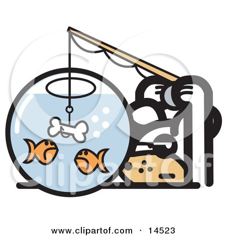 Silly Dog Trying to Catch Goldfish in a Bowl With a Dog Bone on a Hook Clipart Illustration by Andy Nortnik