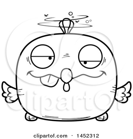 Clipart Graphic of a Cartoon Black and White Lineart Drunk Chick Character Mascot - Royalty Free Vector Illustration by Cory Thoman