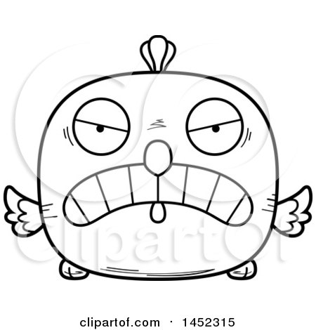 Cartoon Black and White Lineart Mad Chick Character Mascot Posters, Art Prints