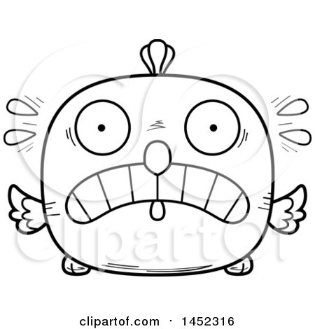 Cartoon Black and White Lineart Scared Chick Character Mascot Posters, Art Prints