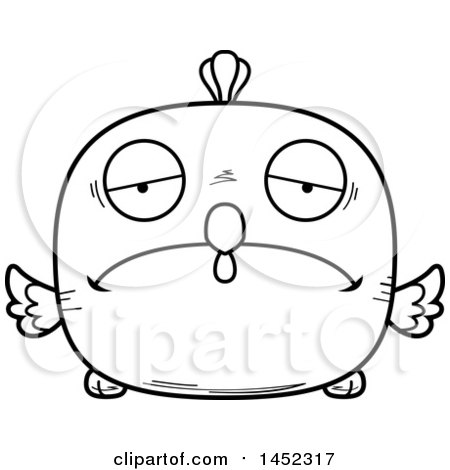 Cartoon Black and White Lineart Sad Chick Character Mascot Posters, Art Prints