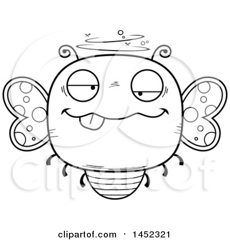 Clipart Graphic of a Cartoon Black and White Lineart Drunk Butterfly Character Mascot - Royalty Free Vector Illustration by Cory Thoman