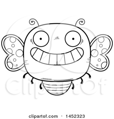 Clipart Graphic of a Cartoon Black and White Lineart Grinning Butterfly Character Mascot - Royalty Free Vector Illustration by Cory Thoman