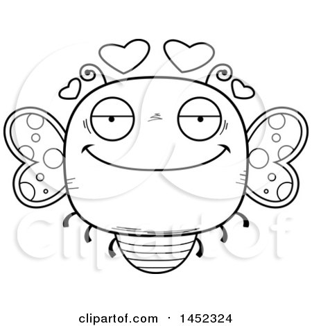 Clipart Graphic of a Cartoon Black and White Lineart Loving Butterfly Character Mascot - Royalty Free Vector Illustration by Cory Thoman
