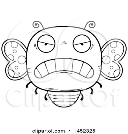 Clipart Graphic of a Cartoon Black and White Lineart Mad Butterfly Character Mascot - Royalty Free Vector Illustration by Cory Thoman