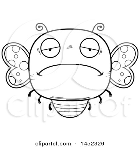 Clipart Graphic of a Cartoon Black and White Lineart Sad Butterfly Character Mascot - Royalty Free Vector Illustration by Cory Thoman