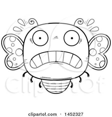 Clipart Graphic of a Cartoon Black and White Lineart Scared Butterfly Character Mascot - Royalty Free Vector Illustration by Cory Thoman