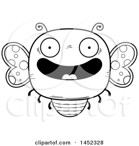 Clipart Graphic of a Cartoon Black and White Lineart Happy Butterfly Character Mascot - Royalty Free Vector Illustration by Cory Thoman