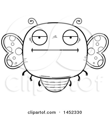 Clipart Graphic of a Cartoon Black and White Lineart Bored Butterfly Character Mascot - Royalty Free Vector Illustration by Cory Thoman