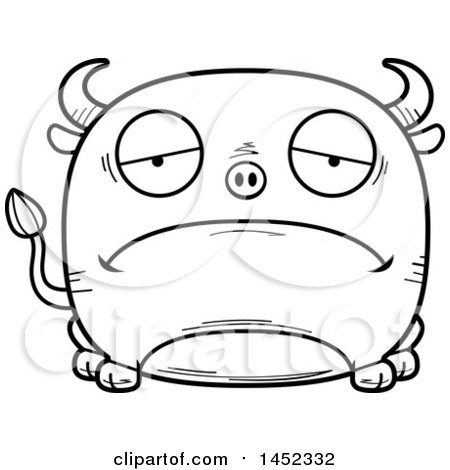 Clipart Graphic of a Cartoon Black and White Lineart Sad Bull Character Mascot - Royalty Free Vector Illustration by Cory Thoman