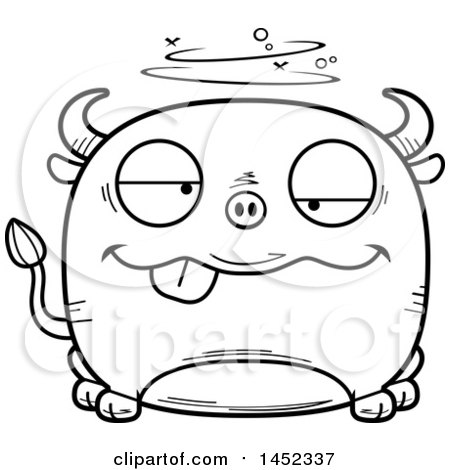 Clipart Graphic of a Cartoon Black and White Lineart Drunk Bull Character Mascot - Royalty Free Vector Illustration by Cory Thoman