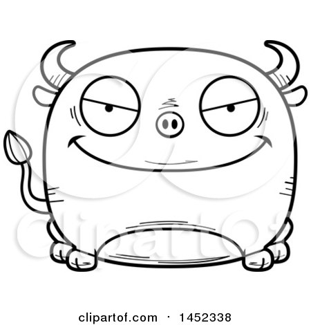 Clipart Graphic of a Cartoon Black and White Lineart Evil Bull Character Mascot - Royalty Free Vector Illustration by Cory Thoman