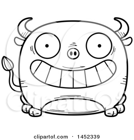Clipart Graphic of a Cartoon Black and White Lineart Grinning Bull Character Mascot - Royalty Free Vector Illustration by Cory Thoman