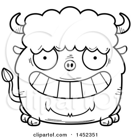Clipart Graphic of a Cartoon Black and White Lineart Grinning Buffalo Character Mascot - Royalty Free Vector Illustration by Cory Thoman