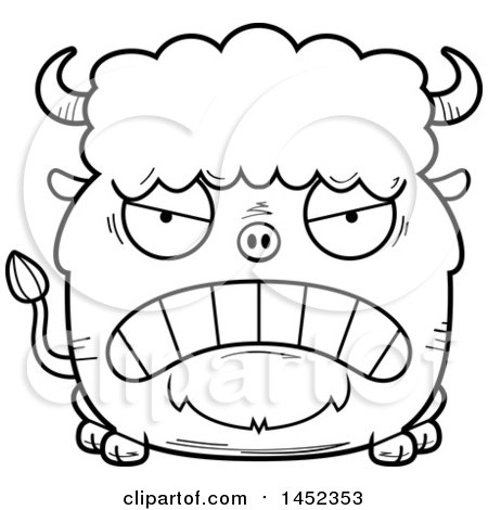 Clipart Graphic of a Cartoon Black and White Lineart Mad Buffalo Character Mascot - Royalty Free Vector Illustration by Cory Thoman