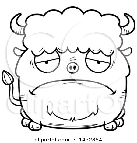 Clipart Graphic of a Cartoon Black and White Lineart Sad Buffalo Character Mascot - Royalty Free Vector Illustration by Cory Thoman