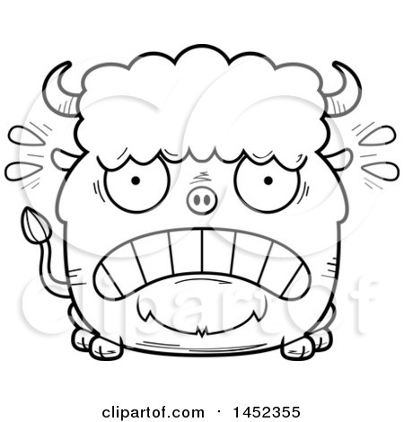 Clipart Graphic of a Cartoon Black and White Lineart Scared Buffalo Character Mascot - Royalty Free Vector Illustration by Cory Thoman