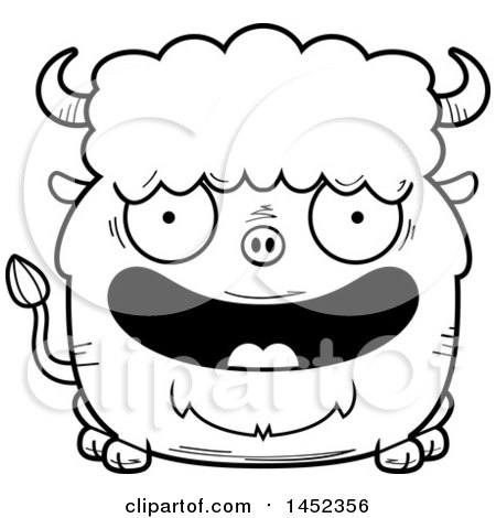 Clipart Graphic of a Cartoon Black and White Lineart Happy Buffalo Character Mascot - Royalty Free Vector Illustration by Cory Thoman