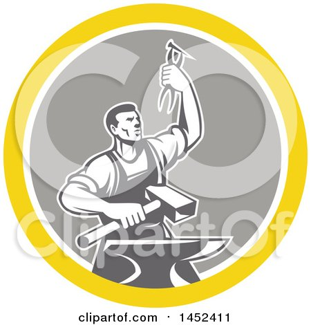 Clipart of a Retro Male Blacksmith Holding up Pliers over a Sledgehammer and Anvil in a Yellow White and Gray Circle - Royalty Free Vector Illustration by patrimonio