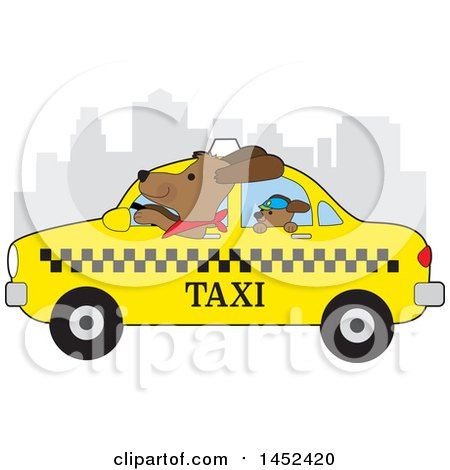 Clipart of a Cute Cabbie Dog Driving a Puppy in a New York Taxi - Royalty Free Vector Illustration by Maria Bell