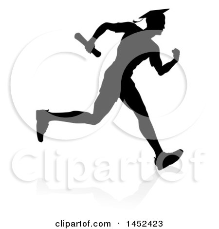 Clipart of a Black Silhouetted Male Graduate Running a Race, with a Shadow - Royalty Free Vector Illustration by AtStockIllustration