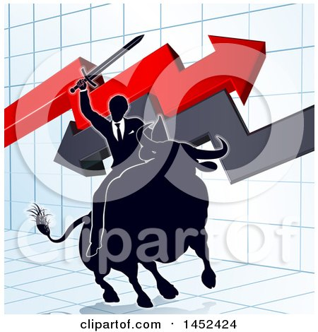 Clipart of a Silhouetted Business Man Holding a Sword and Riding a Stock Market Bull Against a Graph with Arrows - Royalty Free Vector Illustration by AtStockIllustration