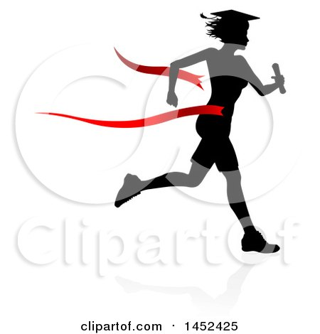 clipart of a black silhouetted female graduate running a race with rh clipartof com
