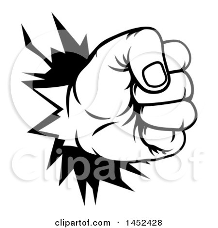 Clipart of a Black and White Fist Punching a Hole Through a Wall - Royalty Free Vector Illustration by AtStockIllustration