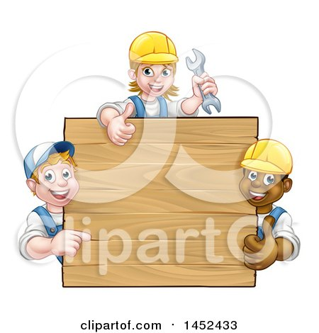 Clipart of a Group of Workers Around a Blank Wooden Sign Sign - Royalty Free Vector Illustration by AtStockIllustration