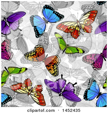Clipart of a Background of Colorful Butterflies over Grayscale - Royalty Free Vector Illustration by AtStockIllustration