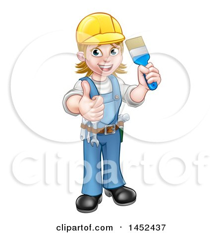 Cartoon Full Length Happy White Female Painter Holding up a Brush and Thumb Posters, Art Prints