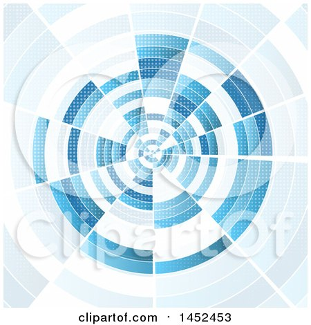 Clipart of a Blue Techno Tunnel Background - Royalty Free Vector Illustration by KJ Pargeter