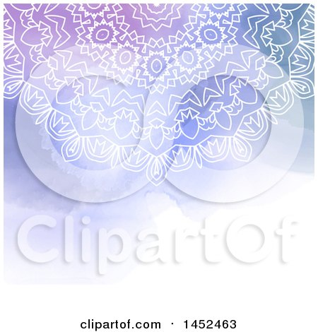 White Mandala over a Watercolor Background Posters, Art Prints