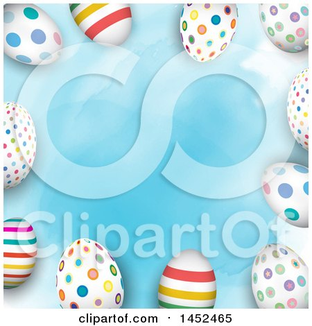 Clipart of a Border of Colorful Patterned Easter Eggs over Blue Watercolor - Royalty Free Vector Illustration by KJ Pargeter