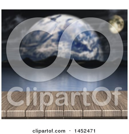 Clipart of a 3d Wooden Surface with a View of Still Water and Fictional Planets - Royalty Free Illustration by KJ Pargeter