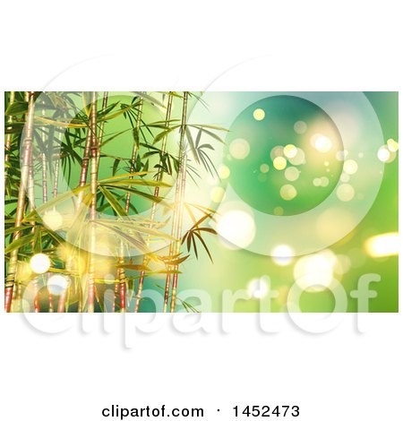 Clipart of a Background of 3d Bamboo Stalks over Green with Flares - Royalty Free Illustration by KJ Pargeter
