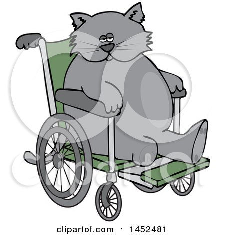 Clipart of a Cartoon Chubby 3 Legged Cat in a Wheelchair - Royalty Free Vector Illustration by djart
